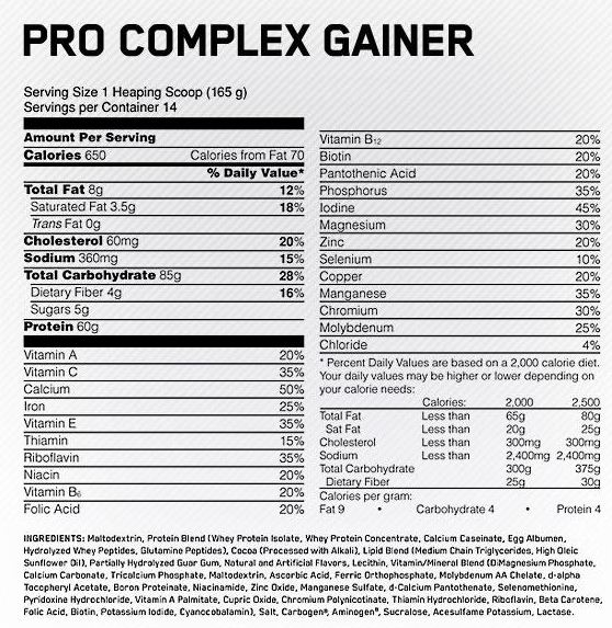 ON-Pro-Complex-Gainer-Nutrition-Facts