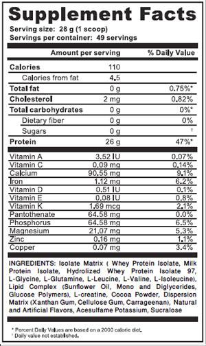 isolate-matrix-choco-supplement-facts